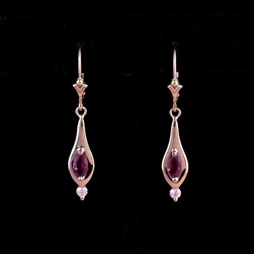 Ruby and Diamond Teardrop Earrings