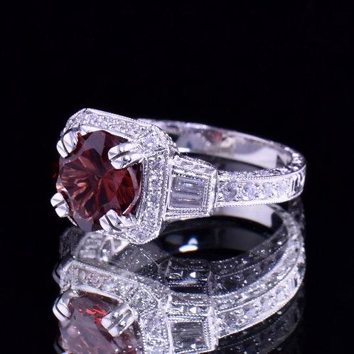 2.45 Carat Garnet and Diamond Ring