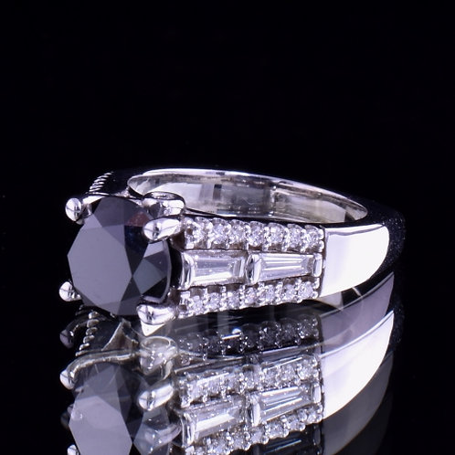 3.31 Carat Black Diamond Ring