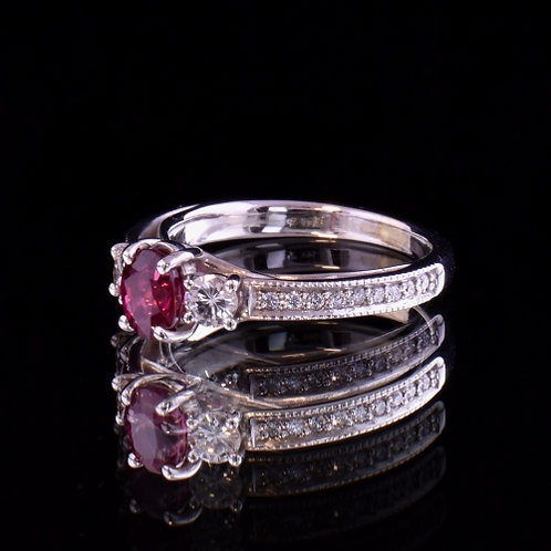 0.89 Carat Ruby and Diamond Ring