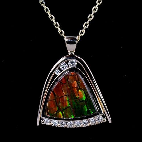 Ammolite and Diamond Pendant