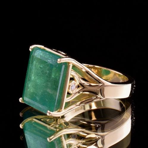 12.52 Carat Emerald and Diamond Ring