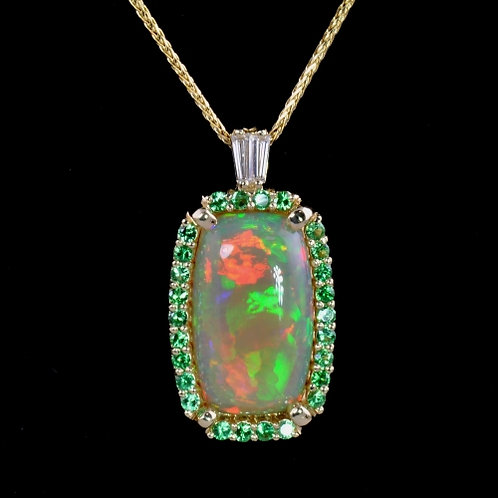 Opal Tsavorite and Diamond Pendant