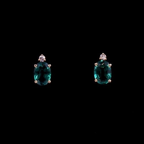 1.42 Carat Created Emerald and Diamond Earrings