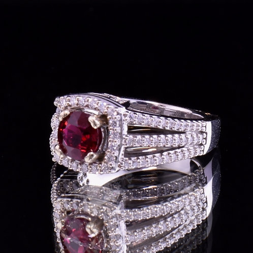 1.60 Carat Very Fine Ruby and Diamond Ring