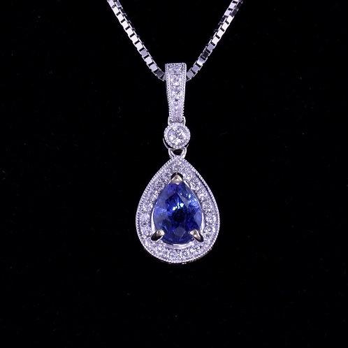 1.02 Carat Sapphire and Diamond Pendant