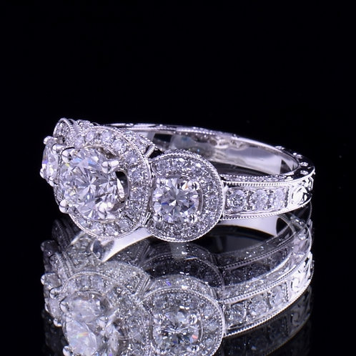 1.96 Carat Total Weight Diamond Engagement Ring