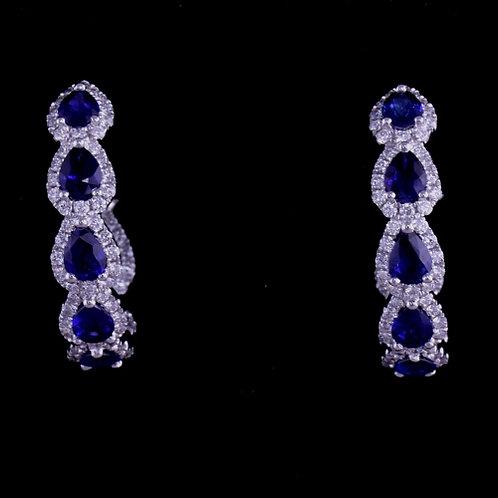 Sapphire and Diamond Hoop Earrings