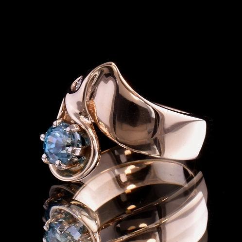 1.46 Carat Blue Zircon and Diamond Ring