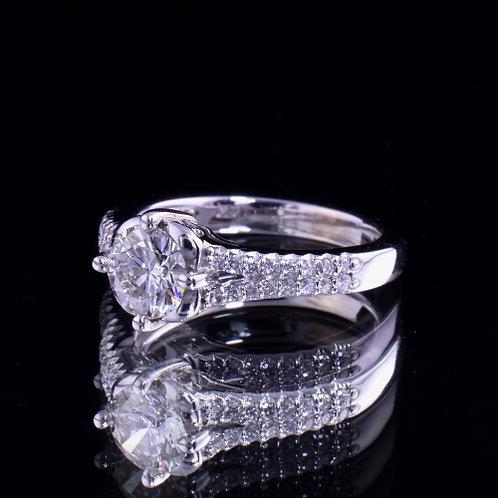 1.36 Carat Total Weight Diamond Engagement Ring