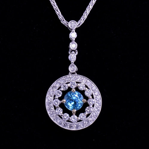 5.3 mm Blue Zircon and Diamond Pendant