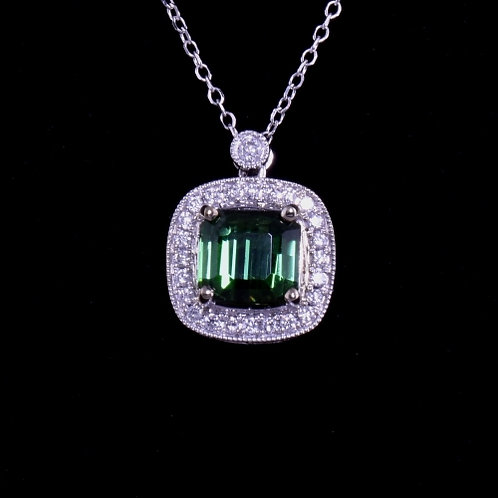 1.30 Carat Green Tourmaline and Diamond Necklace