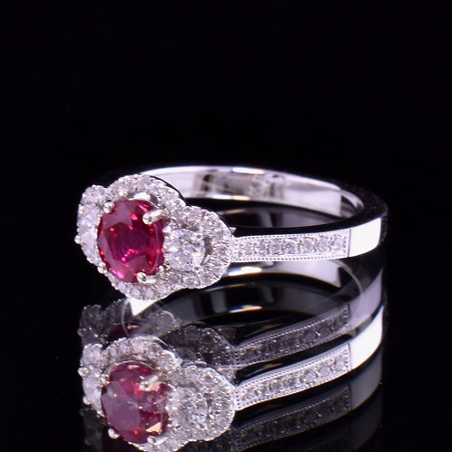0.91 Carat Burmese Ruby and Diamond Ring