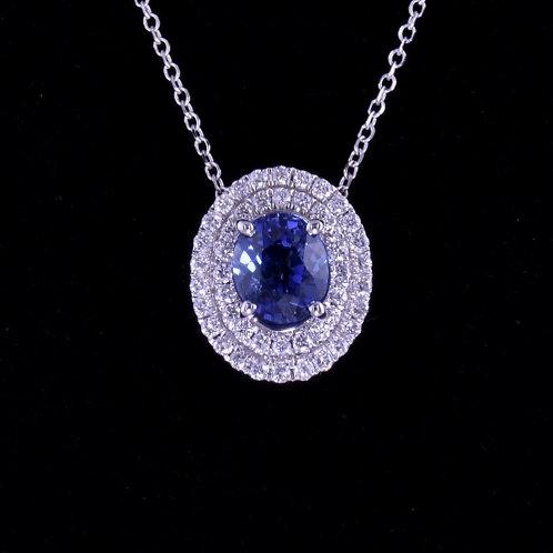 1.21 Carat Sapphire and Diamond Pendant