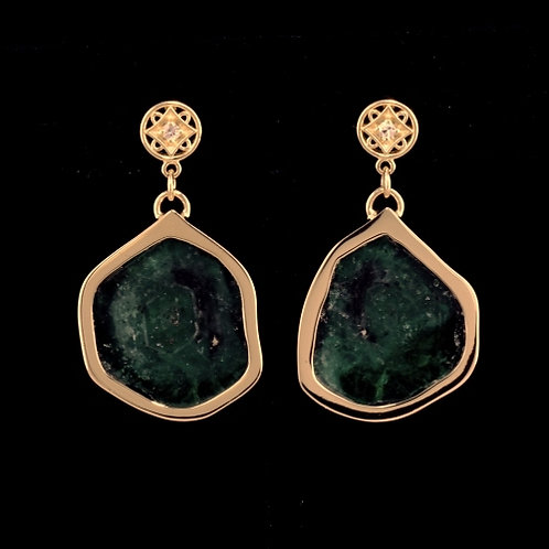 Natural Emerald Slice Earrings