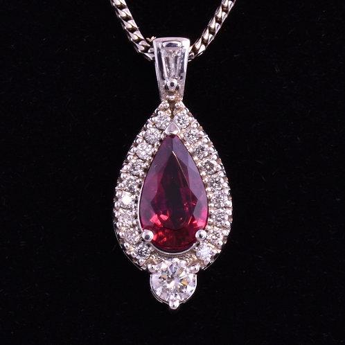 Rubelite Tourmaline and Diamond Pendant