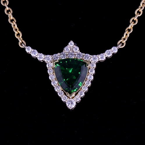 Chrome Tourmaline and Diamond Necklace