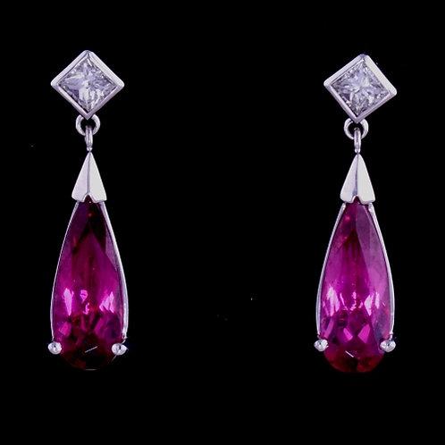 Fine Rubelite Tourmaline and Diamond Dangle Earrings