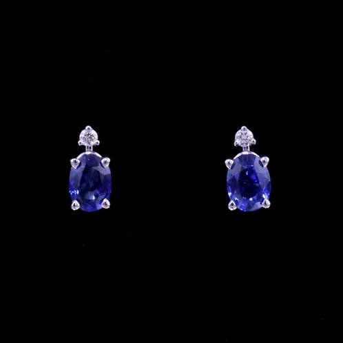 2.11 Carat Sapphire and Diamond Earrings