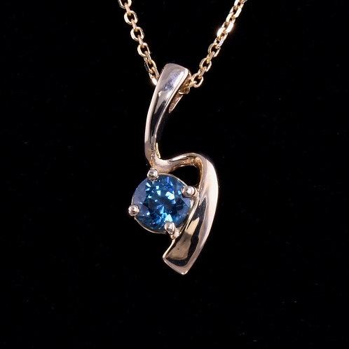 1.34 Carat Blue Zircon Pendant
