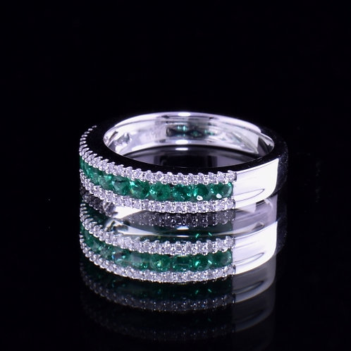 Spark Emerald and Diamond Band