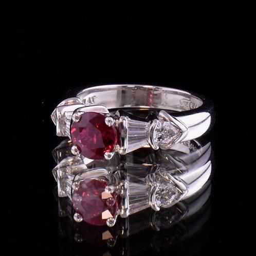 1.32 Carat Fine Burmese Ruby and Diamond Ring