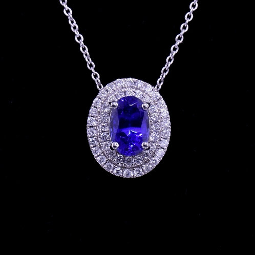 1.00 Carat Tanzanite and Diamond Pendant