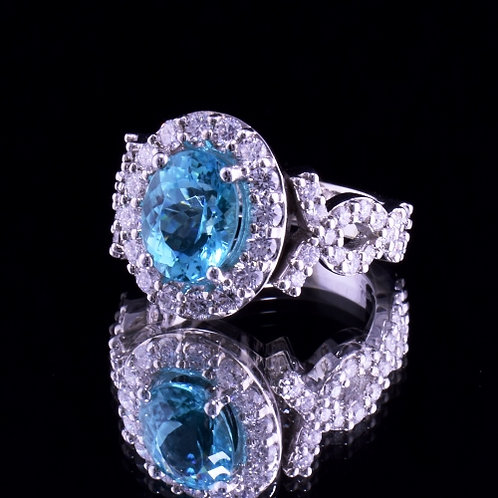 Rare Paraiba Tourmaline and Diamond Ring