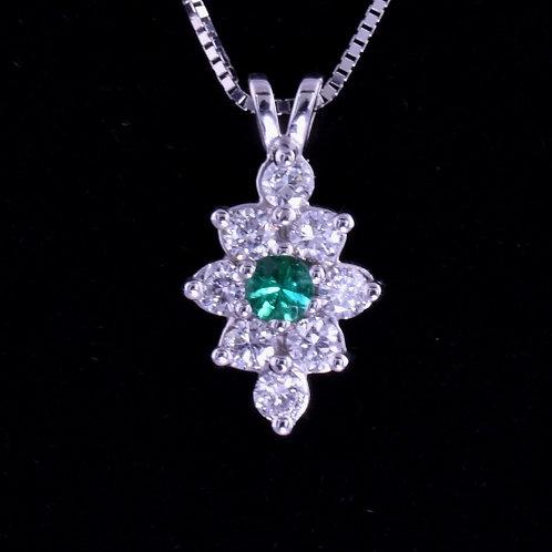 0.18 Carat Emerald and Diamond Pendant