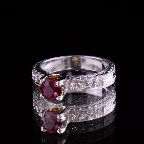 1.08 Carat Burmese Ruby and Diamond Ring