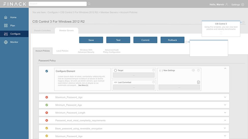 UX Design, Dashboard, Configure, CIS Control 3 Windows 2012 R2, Design System, Visual Design, Interaction Design, Michael Tsay