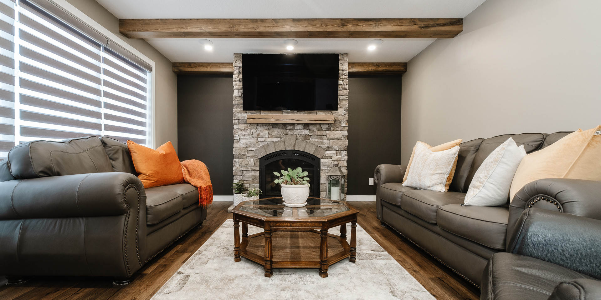 7th ave Stone Fireplace