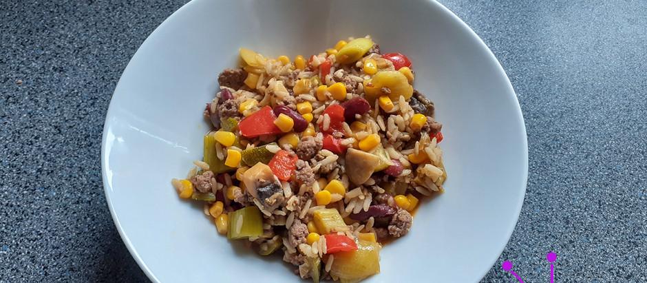 Gemüse-Hack-Reis-Pfanne (4 Portionen)