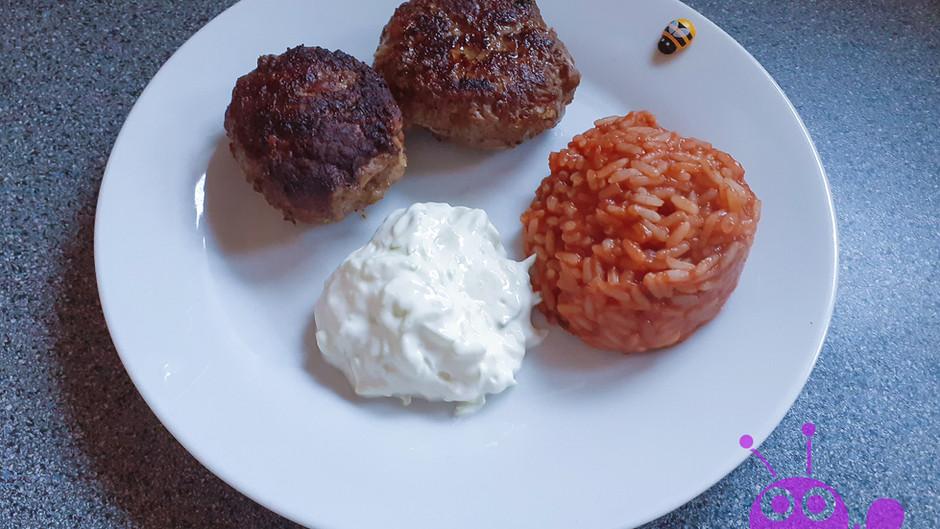 Bifteki mit Tomatenreis griechischer Art  (4 Portionen)