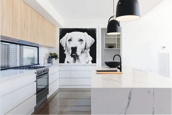 pet potrait glass splashback feature wall