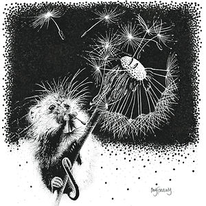 Blank greetings card of a harvest mouse on a dandelion