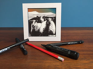 Black ink dot mounted print of 3 Welsh Mountain sheep in front of Cadair Idris 15 x 15 cm