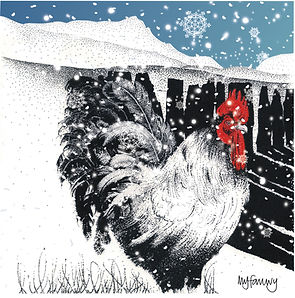 Cockerel with Cadair Idris blank Christmas card .jpg