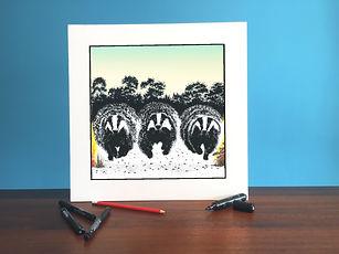 Black ink dot mounted print of 3 running badgers 40 x 40 cm
