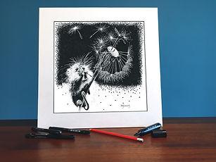 Black ink dot mounted print of a harvest mouse on a dandelion 40 x 40 cm