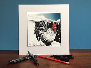 Black ink dot mounted print of a cockerel, slate fence and Cadair Idris 20 x 20 cm