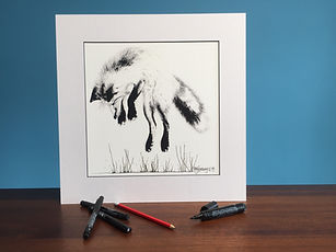 Black ink dot mounted print of leaping fox 40 x 40 cm