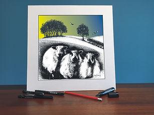 Black ink dot mounted print of  kites and 3 Welsh Mountain sheep 40 x 40 cm