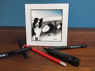 Black ink dot mounted printof Mot, a Border Collie sheepdog on Dyfi Bridge, Machynlleth 15 x 15 cm