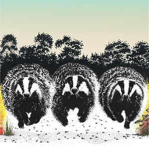 3 running badgers blank greetings card from original black ink dot drawing