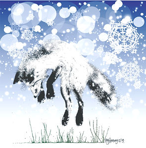 Fox in the snow Christmas card