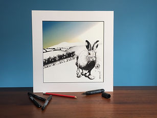 Black ink dot mounted print of a running hare 40 x 40 cm