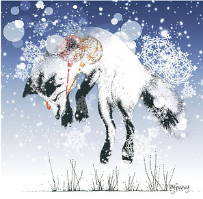 leaping fox Christmas card