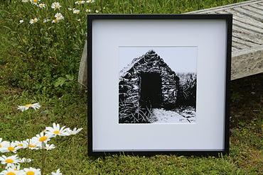 stone building framed print black ink dot drawing