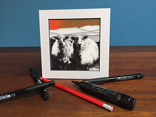 Black ink dot mounted print of 2 Welsh Mountain sheep in front of Cadair Idris 15 x 15 cm